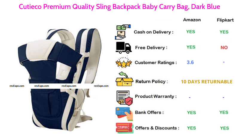 Cutieco Baby Carry Bag Dark Blue Sling Backpack with Premium Quality