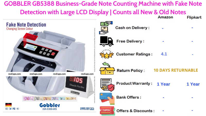 GOBBLER Note Counting Machine Business-Grade Large LCD Display with Fake, New & Old Notes Detection