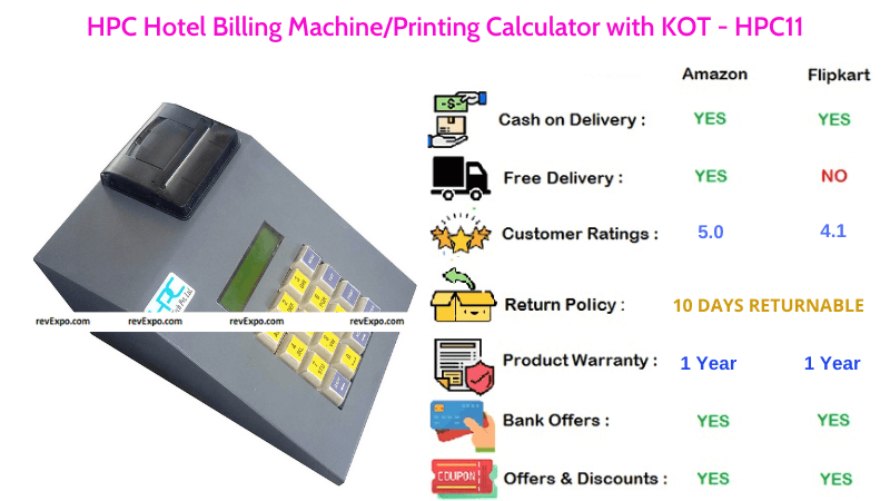 HPC Billing Machine & Printing Calculator with KOT for Hotel