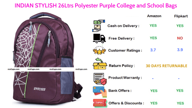 INDIAN STYLISH School Bag Polyester with 26 Ltrs Capacity in Purple
