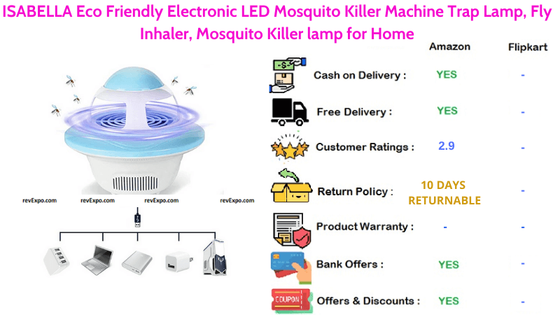 ISABELLA Mosquito Killer Machine with Eco Friendly LED Electronic Trap Lamp, Fly Inhaler for Home