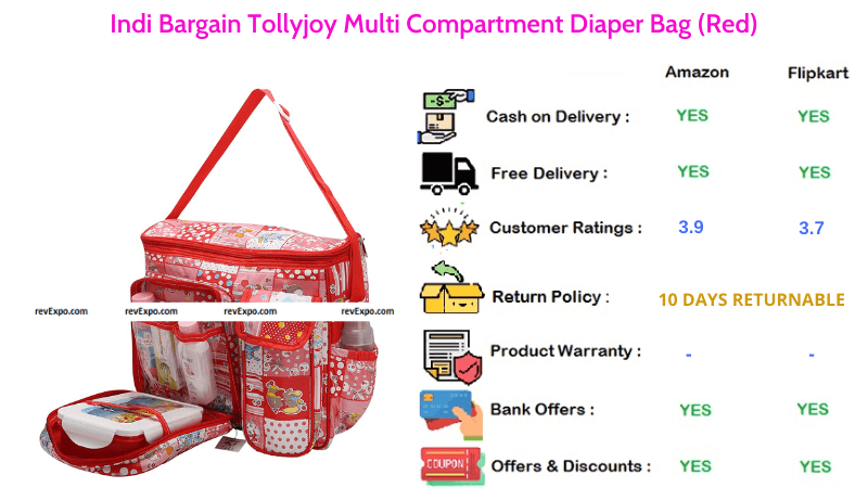 Indi Bargain Diaper Bag Tollyjoy with Multi Compartments