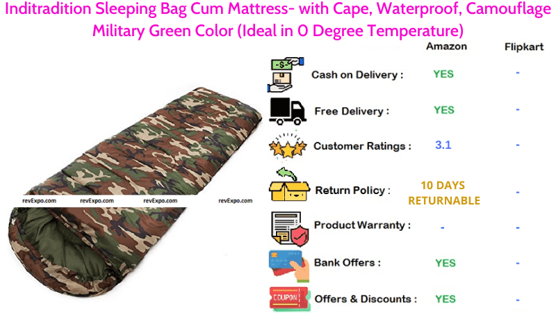 Inditradition Sleeping Bag Cum Mattress Waterproof with Cape in Camouflage Military Green Color
