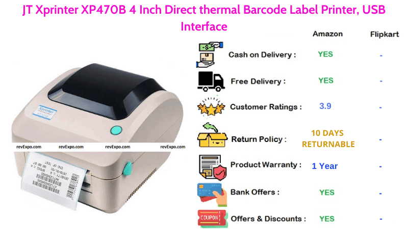 JT Xprinter Barcode Printer 4 Inch Direct thermal Barcode Label Printer with USB Interface