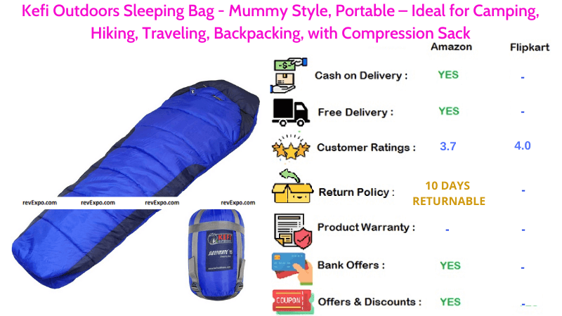 Kefi Outdoors Portable Sleeping Bag in Mummy Style for Hiking, Traveling, Camping & Backpacking with Compression Sack