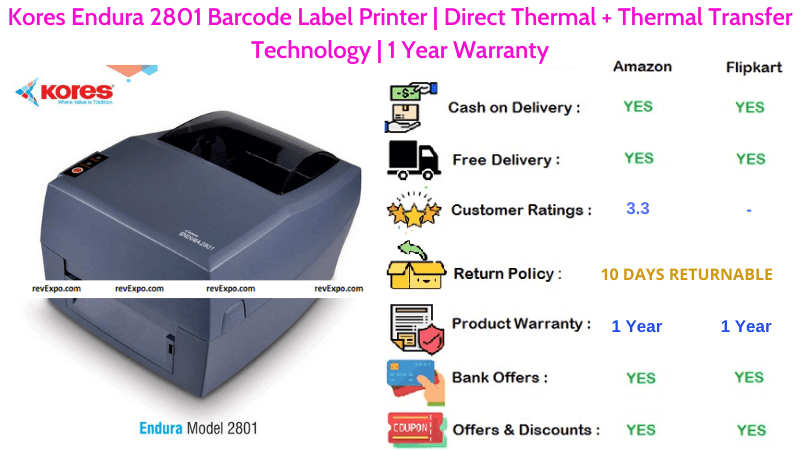 Kores Endura Barcode Printer with Direct Thermal & Thermal Transfer Technologies