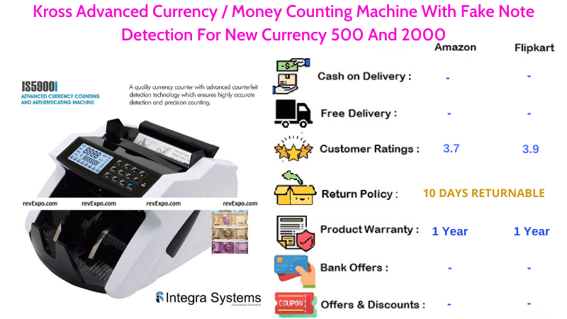 Kross Advanced Money Counting Machine With Fake Note & New Currency Detection