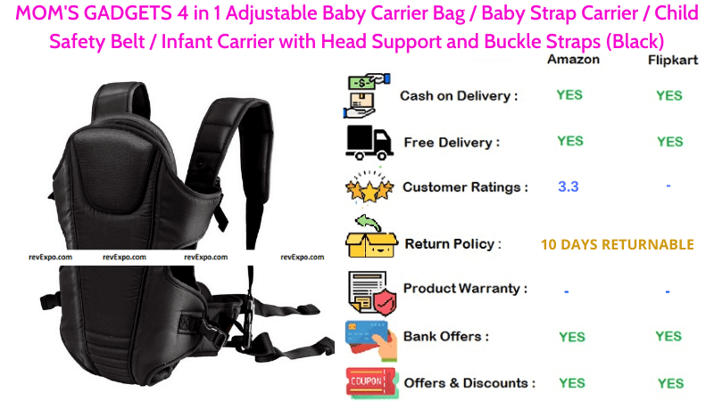 MOM'S GADGETS Baby Carrier Bag with 4 in 1 Adjustable Child Safety Belt, Infant Carrier, Head Support & Buckle Straps