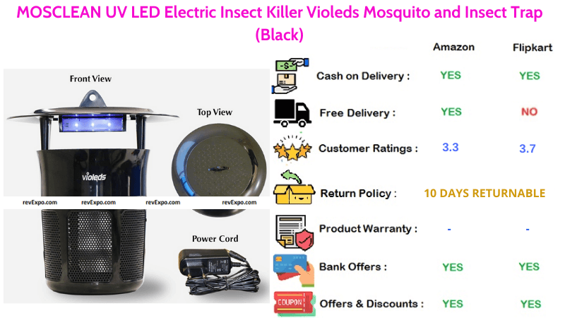MOSCLEAN Mosquito Killer Machine UV LED Electric Insect Trap & Insect Killer Violeds
