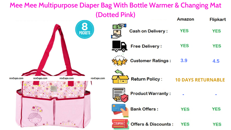 Mee Mee Diaper Bag Multipurpose with Changing Mat & Bottle Warmer