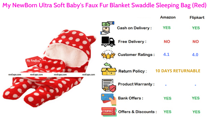 My NewBorn Baby Sleeping Bag Blanket Swaddle with Ultra Soft Baby Faux Fur