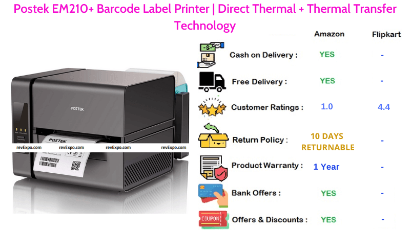 Postek Barcode Printer EM210+ with Direct Thermal & Thermal Transfer Technology