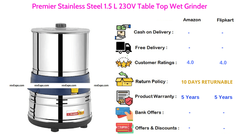 Premier Table Top Wet Grinder Stainless Steel with 1.5 L Capacity