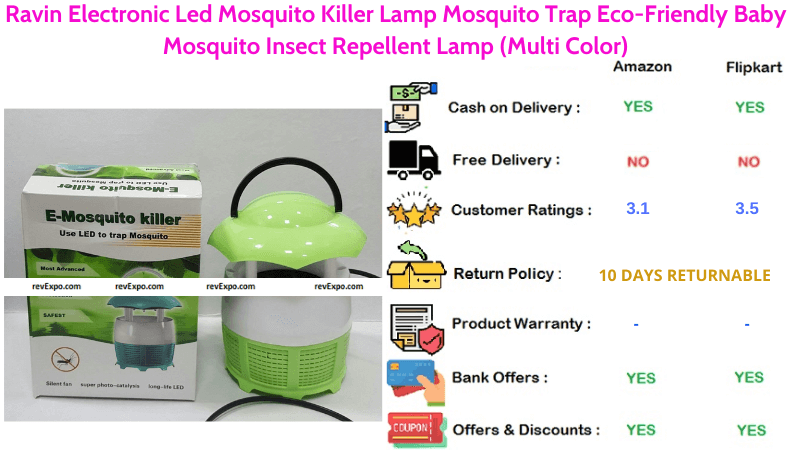 Ravin Electronic Mosquito Killer Machine with Eco-Friendly Baby Mosquito Repellent Led Lamp Multi Color