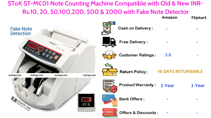 SToK ST-MC01 Note Counting Machine with Fake Note Detector Compatible with Old & New Notes