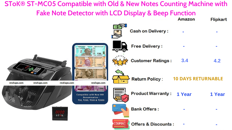SToK ST MC05 Old & New Notes Counting Machine with Fake Note Detector, LCD Display & Beep Function