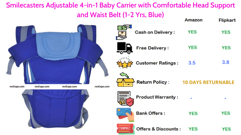Smilecasters Baby Carry bag with Comfortable Head Support, Adjustable 4 in 1 Baby Carrier & Waist Belt