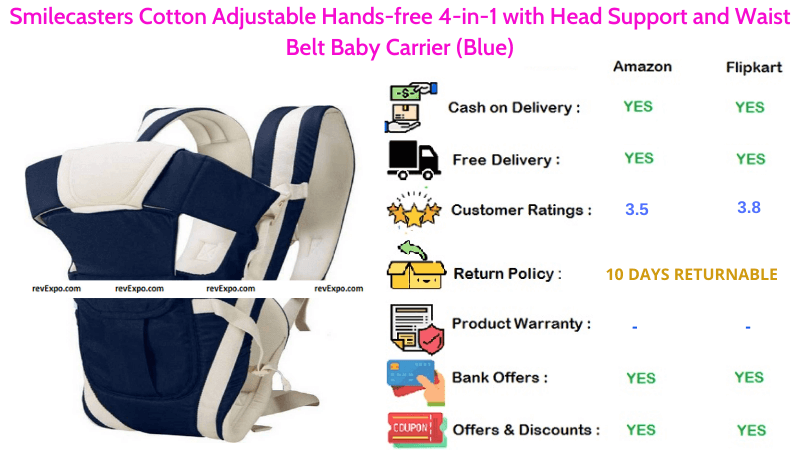 Smilecasters Hands-free Baby Carrier Cotton with Head Support, Adjustable 4-in-1 positions & Waist Belt