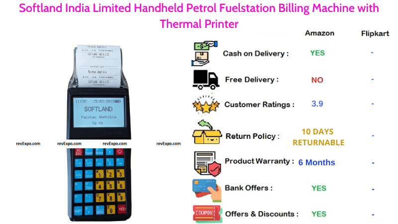 Softland India Limited Billing Machine Handheld Petrol Fuelstation with Thermal Printer