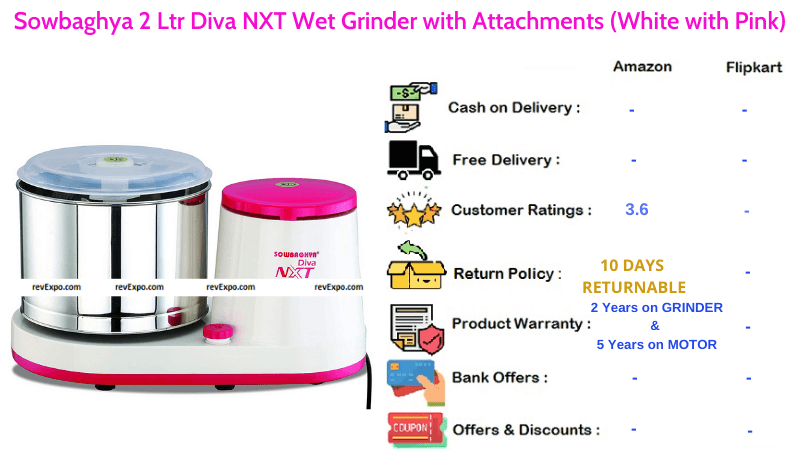 Sowbaghya Diva NXT Wet Grinder with Attachments & 2 Ltr Capacity