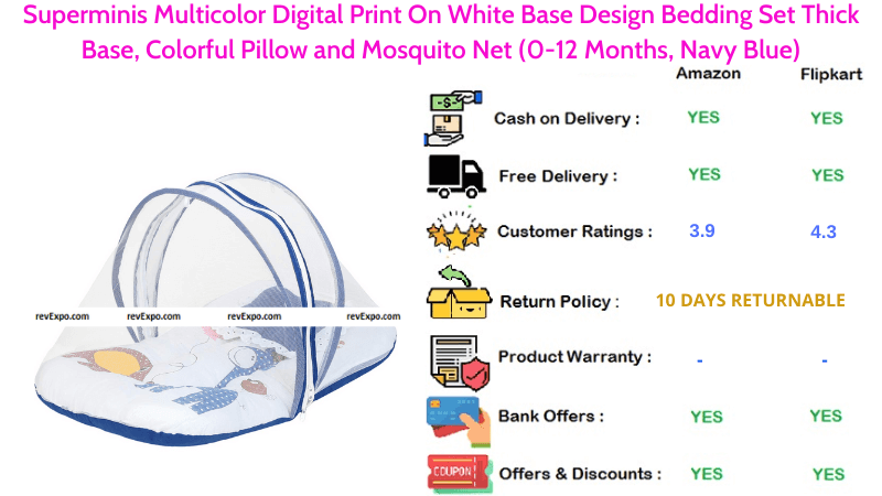 Superminis Multicolor Baby Seeping Bag, Colorful Pillow & Mosquito Net with Digital Print On White Base Design Bedding Set Thick Base