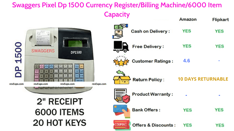 Swaggers Billing Machine Pixel Dp 1500 Currency Register with 6000 Items Capacity