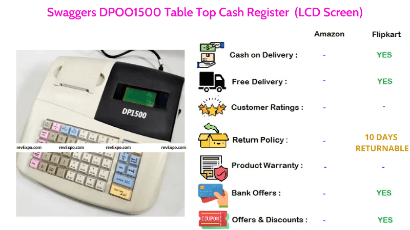 Swaggers DPOO1500 Billing Machine & Table Top Cash Register with LCD Screen