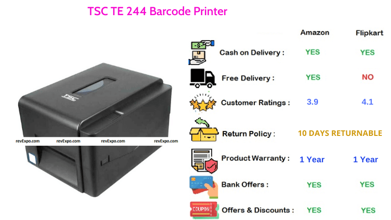 TSC TE Barcode Printer Thermal with 203 DPI Resolution