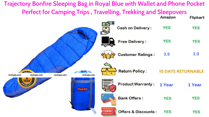 Trajectory Bonfire Sleeping Bag in Royal Blue with Wallet and Phone Pockets for Travelling, Camping Trips & Trekking