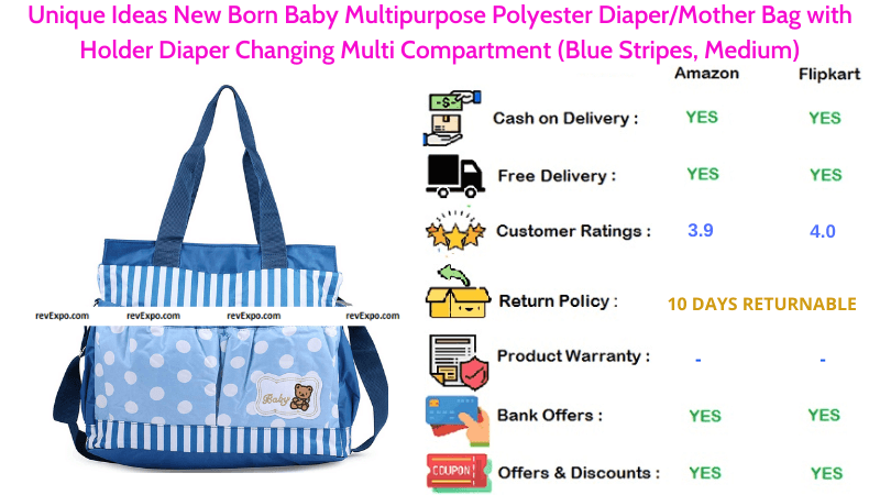 Unique Ideas Diaper Bag Multipurpose Diaper Changing with Multi Compartments for New Born Baby