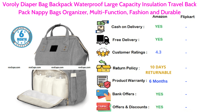 Voroly Diaper Backpack Large Capacity Nappy Organizer Bag with Waterproof, Durable & Multifunctional