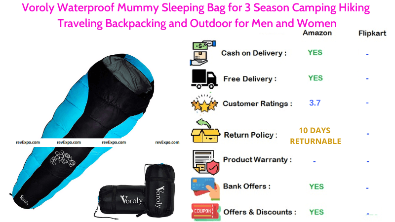 Voroly Sleeping Bag Waterproof in Mummy Style for Traveling, Camping, Hiking & Backpacking