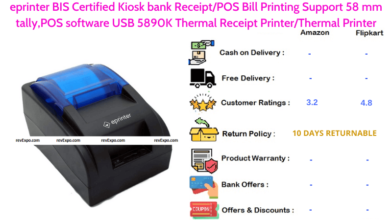 eprinter Kiosk Receipt Printer USB BIS Certified with POS Bill Printing & Support 58 mm