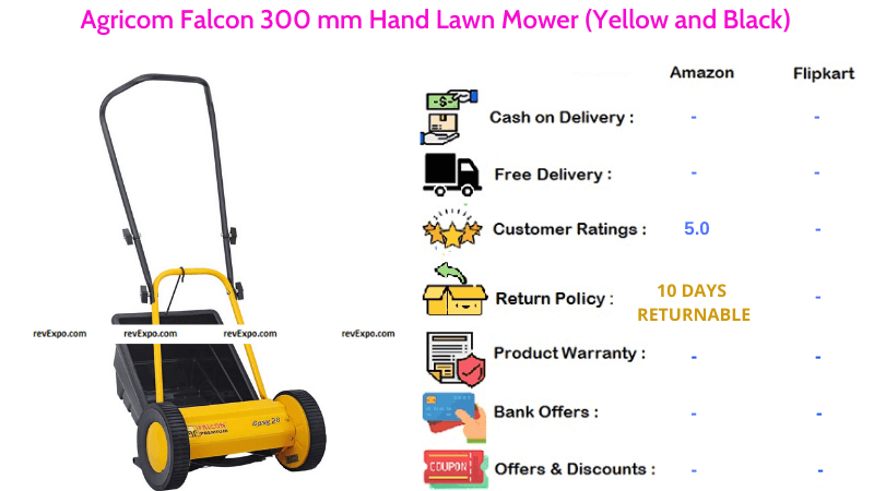 Agricom Falcon Hand Lawn Mower with 300 mm Blades in Yellow & Black