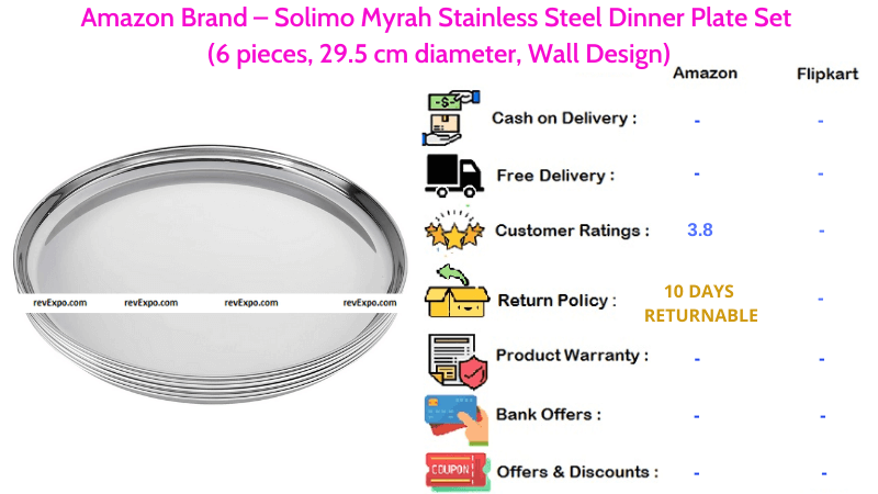 Amazon Brand Solimo Myrah Steel Plate with Stainless Steel Material Dinner Plate Set of 6 Pieces