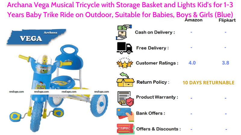Archana Vega Musical Tricycle for Kids Trike Ride on Outdoor with Storage Basket and Lights for 1-3 Years Babies Suitable for Babies, Boys & Girls