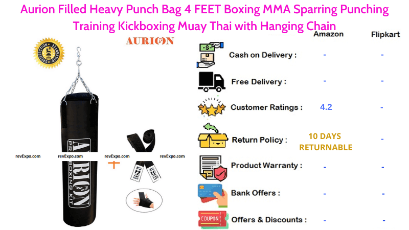 Aurion Punching Bag with Heavy Filled 4 FEET for Boxing MMA Sparring, Training Kickboxing with Hanging Chain