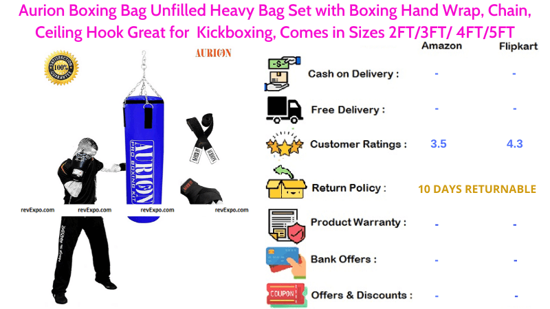 Aurion Unfilled Heavy Boxing Bag Set with Ceiling Hook Chain & Boxing Hand Wrap for Kickboxing, Grappling and Karate