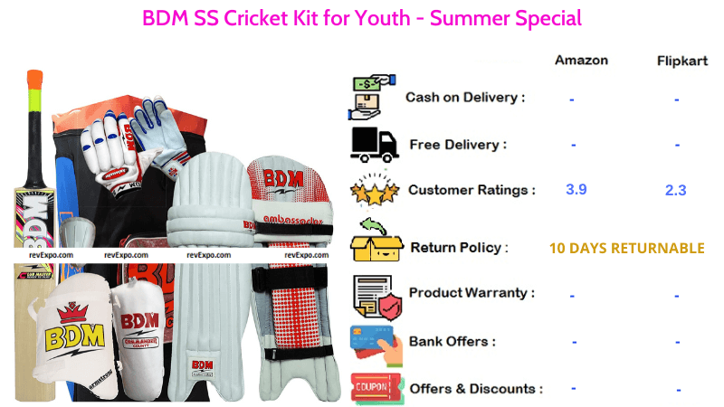BDM SS Cricket Kit Combo Summer Special for Youth