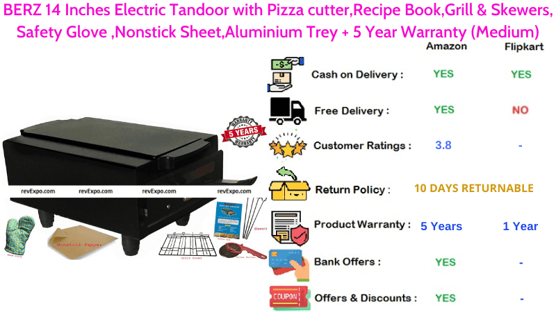 BERZ Electric Tandoor 14 Inches with Aluminium Trey, Nonstick Sheet, Pizza Cutter, Safety Glove, Recipe Book, Grill & Skewers