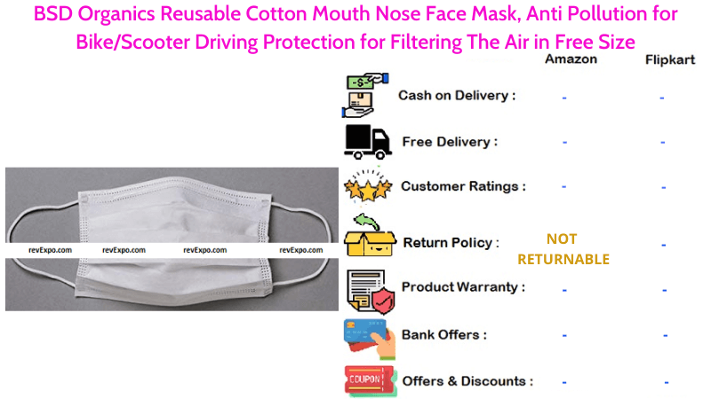 BSD Organics Face Mask Reusable Cotton Mouth Nose Mask Protection for Filtering The Air Anti Pollution for Bike or Scooter Driving
