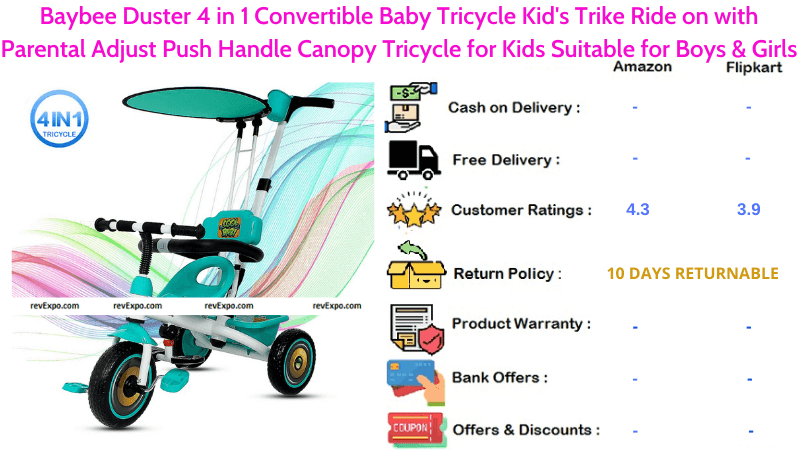Baybee Duster 4 in 1 Convertible Tricycle for Kids Trike Ride on with Parental Adjust Push Handle Canopy Tricycle for Boys & Girls