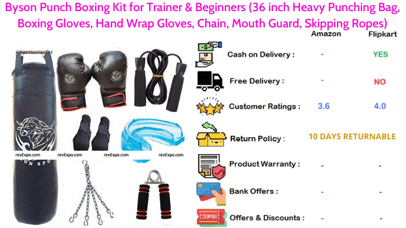 Byson Punch Boxing Set for Beginners & Trainers with 36 inch Heavy Punching Bag, Chain, Boxing Gloves, Mouth Guard, Hand Wrap Gloves & Skipping Ropes