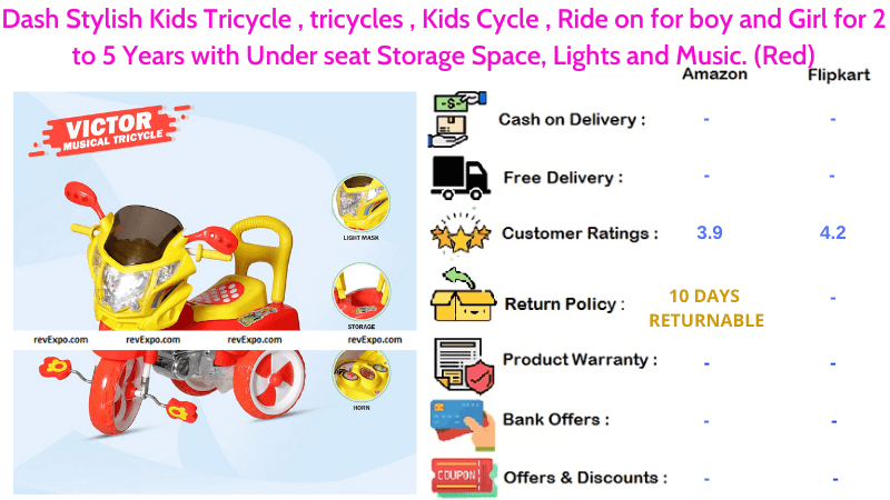 Dash Stylish Tricycle for Kids Ride on for 2 to 5 years old boys and girls with Under-seat Storage Space, Lights & Music