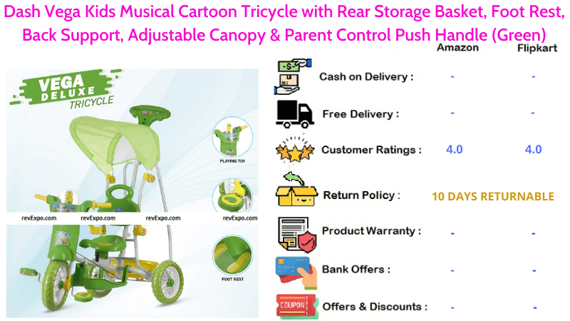 Dash Vega Tricycle for Kids with Rear Storage Basket, Musical Cartoon Foot Rest, Back Support, Parent Control Push Handle & Adjustable Canopy