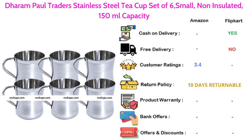 Dharam Paul Traders Tea Cup Set of 6 with Stainless Steel & Non Insulated Material
