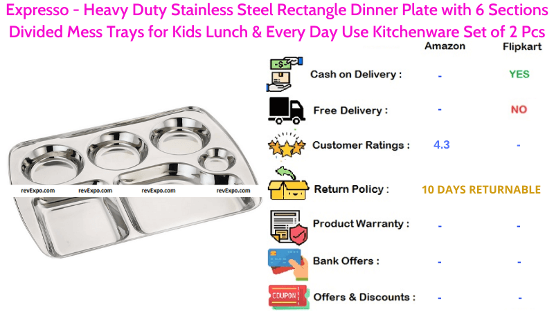 Expresso 6 Sections Steel Plate with Heavy Duty Stainless Steel Rectangle Dinner Plate Divided Mess Tray for Kids Lunch & Every Day Use Set of 2 Pcs