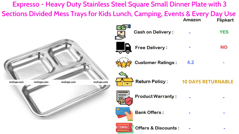 Expresso Steel Plate with 3 Sections with Heavy Duty Stainless Steel Square Small Dinner Plate Divided Mess Trays for Every Day Use, Kids Lunch & Camping
