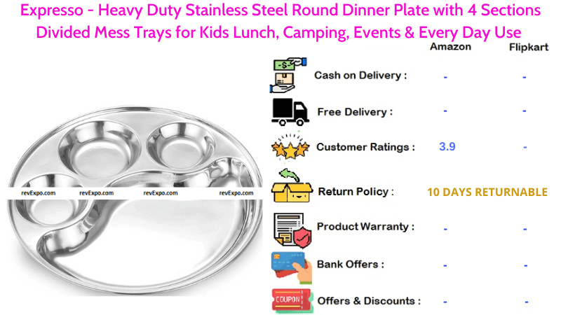 Expresso Steel Plate with 4 Sections Stainless Steel Heavy Duty Round Dinner Plate, Divided Mess Trays for Every Day Use, Kids Lunch, Camping & Events
