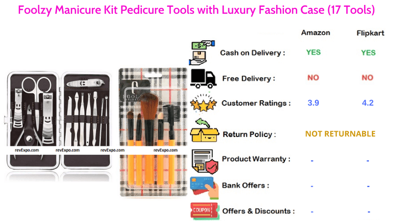 Foolzy Pedicure Kit with Luxury Fashion Case & 17 Manicure Tools Set